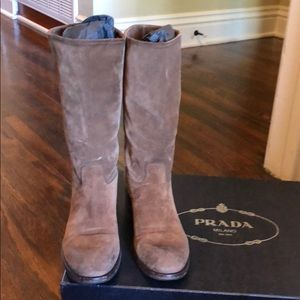 Prada brown suede motorcycle boots size 36